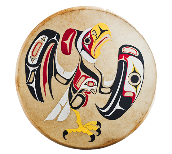 Indigenous drum with artwork